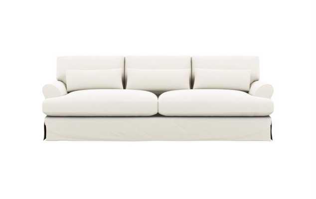 "Maxwell 82"" Slipcovered Sofa- Ivory Heavy Cloth - Oiled Walnut Legs - Interior Define"