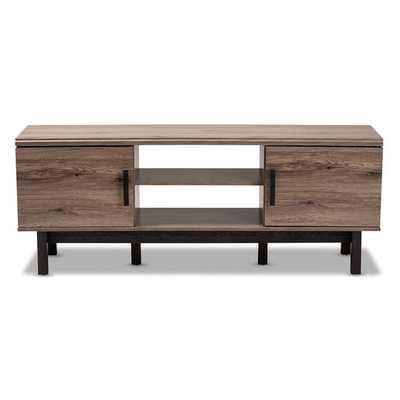 Baxton Studio Armani Mid-century Modern Dark Walnut and White Two-tone Finish 2-drawer with Sliding Door Wood TV Cabinet - Lark Interiors