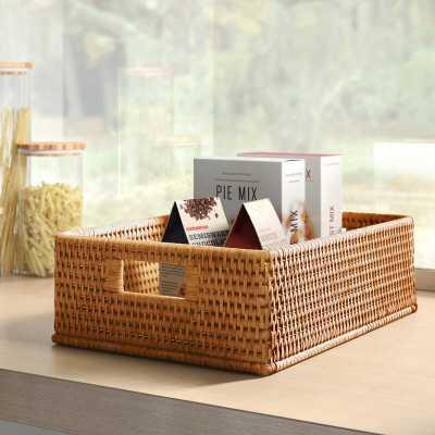 Rattan Rectangular Basket with Rounded Corners and Cutout Handles / Honey Brown - Wayfair