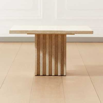 Carve Travertine Small Cocktail Table - CB2