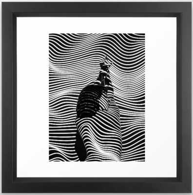 Minimalist Abstract Modern Ripple Lines Projected Woman Sensual Cool Feminine Black and White Photo Framed Art Print - Society6