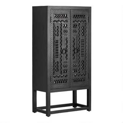 Carved Wood And Mirror Almirah Storage Cabinet - World Market/Cost Plus