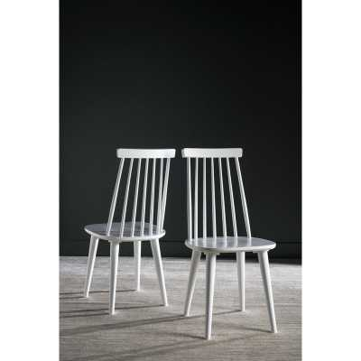 Clarence Solid Wood Dining Chair set of 2 - WHITE - Wayfair