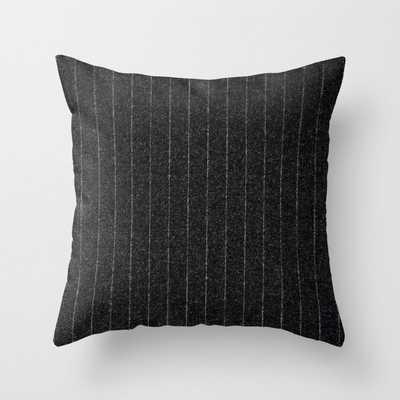 6 Charcoal Grey Pinstripe Throw Pillow - Society6