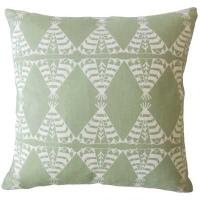 Eamhair Graphic Pillow Green, Poly Insert - Linen & Seam