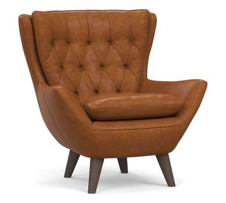 Wells Leather Armchair, Polyester Wrapped Cushions, Statesville Caramel - Pottery Barn