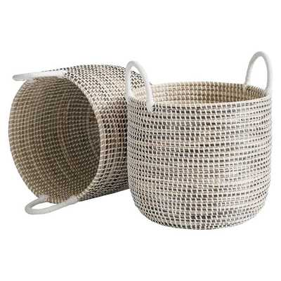 Woven Seagrass Storage Baskets, Medium, Set of 2, Natural - Pottery Barn Teen