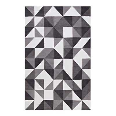 KAHULA GEOMETRIC TRIANGLE MOSAIC 5X8 AREA RUG IN BLACK, GRAY AND WHITE - Modway Furniture