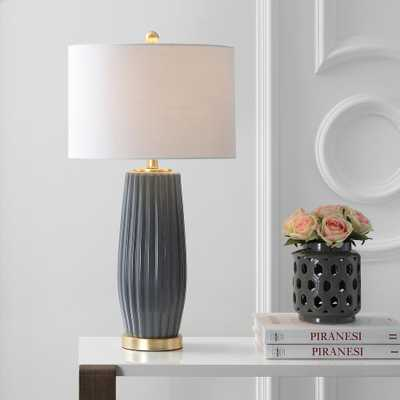 JONATHAN Y Roman 28.5 in. Gray Ceramic Table Lamp - Home Depot