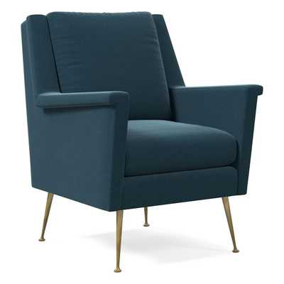 Carlo Midcentury Chair, Performance Velvet, Lagoon, Brass - West Elm