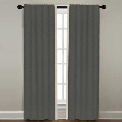 "Linen Border Drapery Single Panel, Quarry with Natural, 84"" - Havenly Essentials"