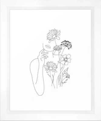 Minimal Line Art Woman with Flowers III Framed Art Print 10x12 - Society6
