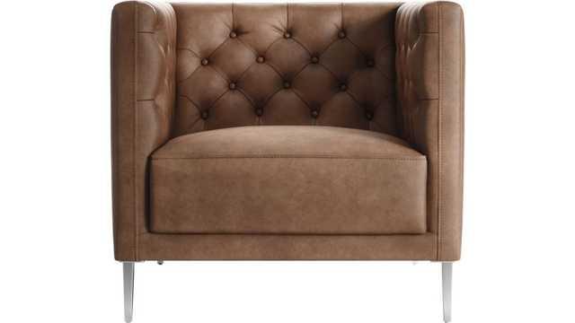 Savile Dark Saddle Brown Leather Tufted Chair - CB2