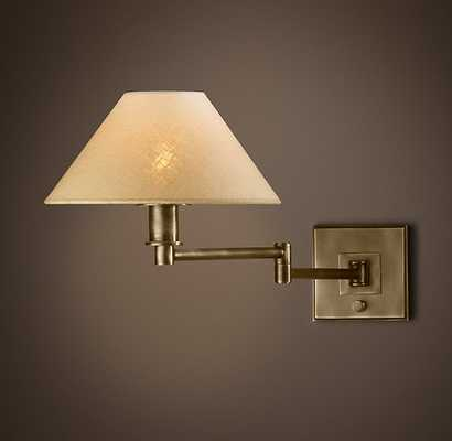 PETITE CANDLESTICK SWING-ARM SCONCE WITH LINEN SHADE - RH