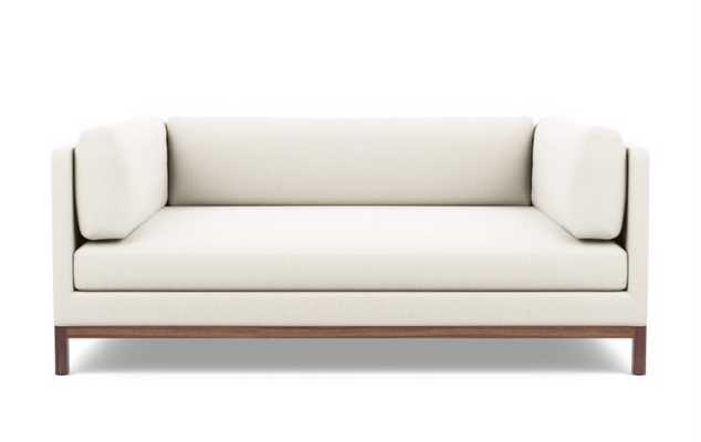 Jasper Long Two-Arm Sofa, Ivory, Walnut Base - Interior Define