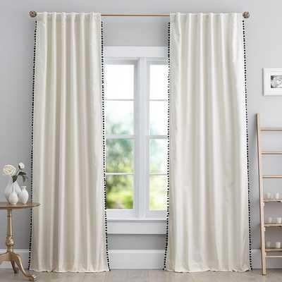 """The Emily & Meritt Natural Linen Pom Pom Blackout Curtain Panel, 84"""", Natural Linen (set of 2) - Pottery Barn Kids"""
