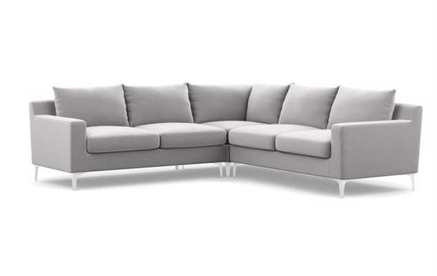 "Sloan Corner Sectional Sofa - Ash Performance Felt - Chrome Plated Sloan L Leg - 109"" - Interior Define"