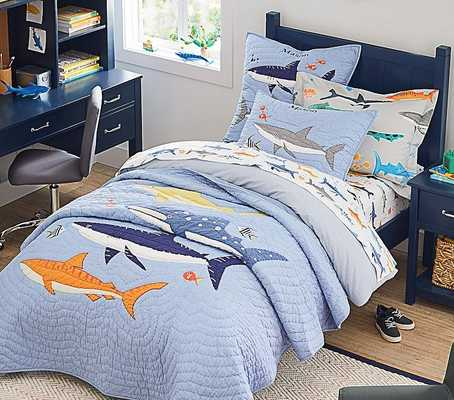 Shark Party Quilt, Twin, Navy - Pottery Barn Kids