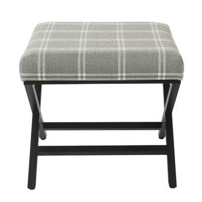 Anthea Ottoman, Charcoal Plaid - Wayfair
