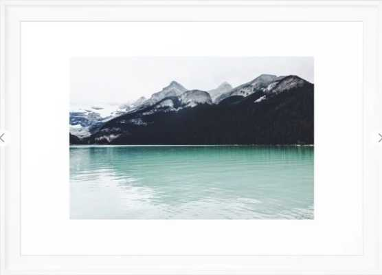 """Lake Louise Reflections Framed Art Print- 15"""" x 21""""- Scoop White - Society6"""