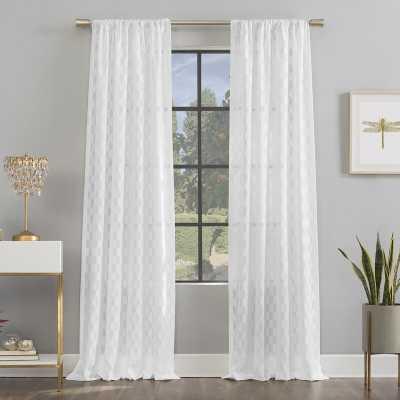 Verge Clipped Jacquard Geometric Semi-Sheer Rod Pocket Single Curtain Panel - Wayfair
