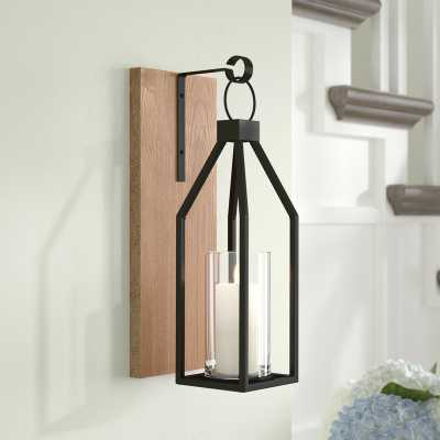 Wood and Metal Wall Sconce Rustic Brown - Wayfair