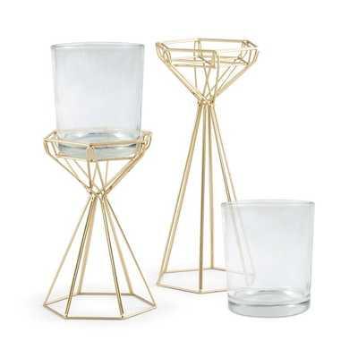 Tall Geometric 2 Piece Metal/Glass Candlestick Set - Wayfair