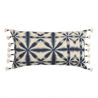 Oversized Indigo Blue Shibori Print Lumbar Pillow - World Market/Cost Plus
