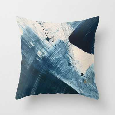 """Against the Current [2]: A bold, minimal abstract acrylic piece in blue, white and gold Throw Pillow by Alyssa Hamilton Art - Indoor - 18"""" - Society6"""