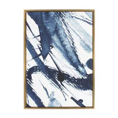 "Kate & Laurel 33""x23"" Sylvie Indigo Watercolor Abstract Print Framed Wall Canvas Gold - Target"