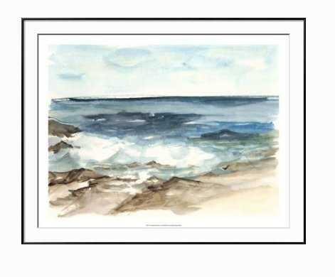 COASTAL WATERCOLOR V - Chelsea Black Frame - Bright White Mat - art.com