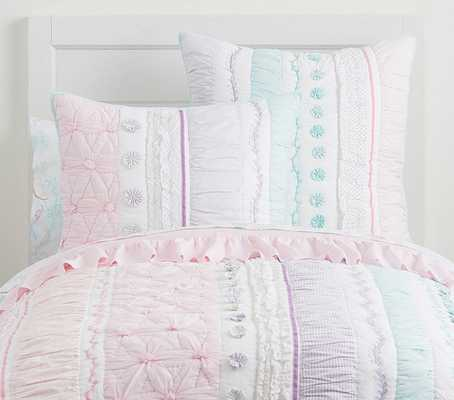 Bailey Ruffle Quilt, Full/Queen, Aqua - Pottery Barn Kids