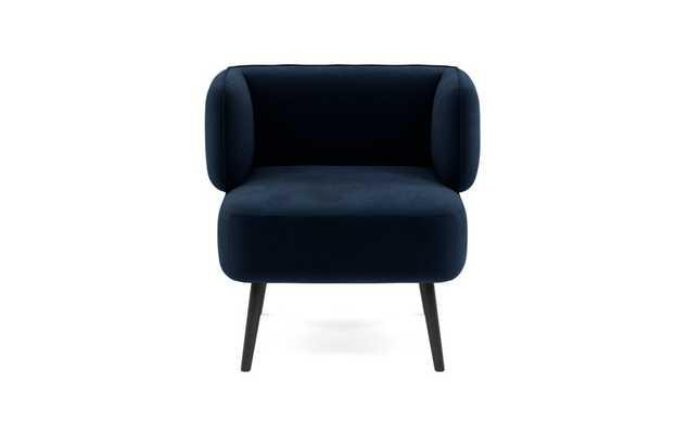Parker Slipper Chair,  Performance Velvet Navy, Matte Black Tall Wood Tapered - Interior Define