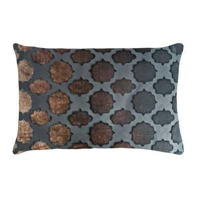 "Kevin O'Brien Studio Mod Fretwork Velvet Geometric Lumbar Pillow Color: Gunmetal, Size: 14"" x 20"", Fill Material: Down Blend - Perigold"