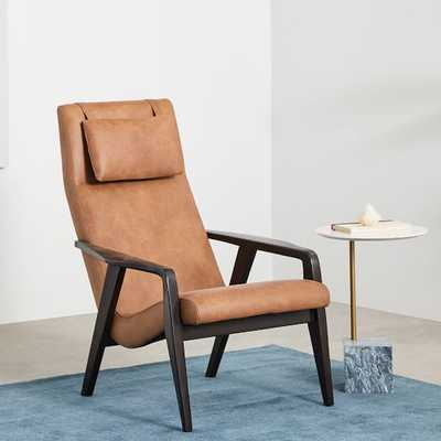 Contour Mid-Century Leather Chair, Leather, Camel Contour Mid-Century Leather Chair - West Elm