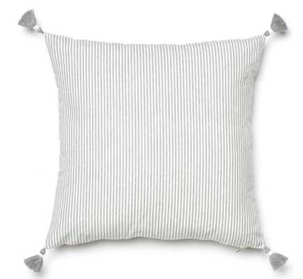 "Grey French Stripe Pillow / 20"" x 20"" - Caitlin Wilson"