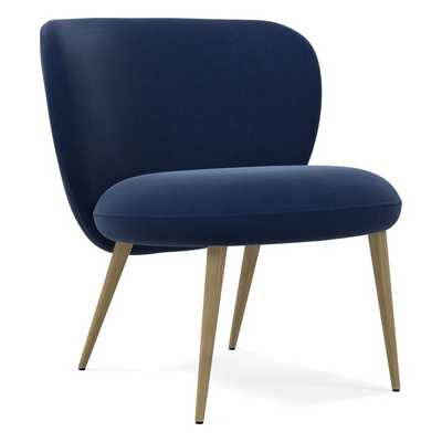 Ginger Slipper Chair, Poly, Performance Velvet, Ink Blue, Antique Brass - West Elm