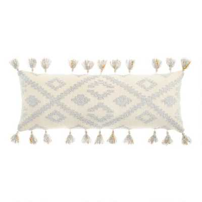 Oversized Cream And Gray Diamond Lumbar Pillow - World Market/Cost Plus
