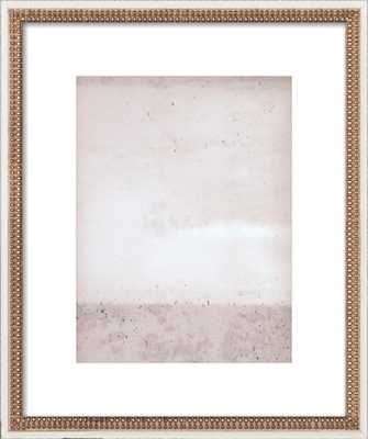 "Overcast - Soft Pinks, 20x24"", Ornate - Distressed Cream Double Bead Wood Frame with Matte - Artfully Walls"