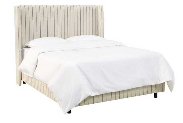 Kelly Wingback Bed, Tan Stripe - One Kings Lane