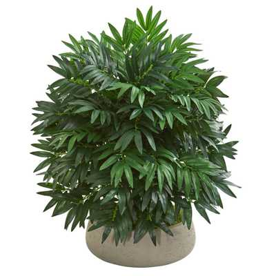 "30"" Bamboo Palm Artificial Plant in Stone Planter - Fiddle + Bloom"
