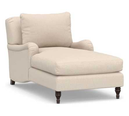 Carlisle Upholstered Chaise, Polyester Wrapped Cushions, Performance everydaylinen(TM) Oatmeal - Pottery Barn