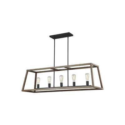 Feiss Gannet 50 in. W. 5-Light Weathered Oak Wood and Antique Forged Iron Island Chandelier - Home Depot