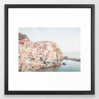 Positano, Italy Amalfi coast pink-peach-white travel photography in hd Framed Art Print - Society6