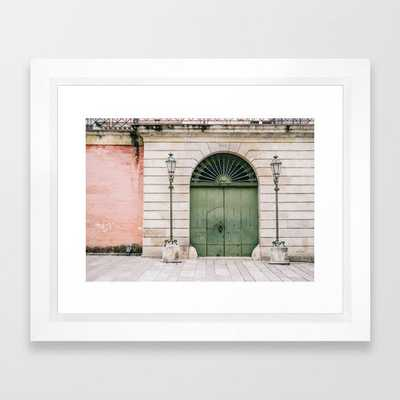 Old wooden green doors in Italy | Wanderlust travel photography art Framed Art Print - Society6