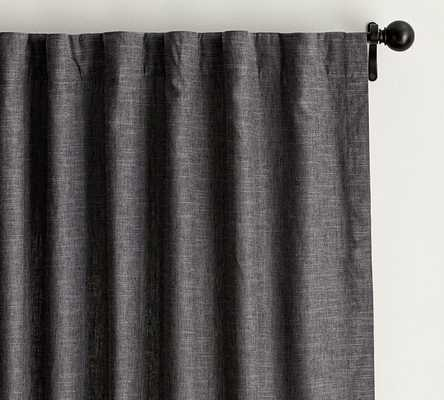 "Emery Linen Poletop Drape, 50 x 96"", Charcoal, cotton lining - Pottery Barn"