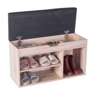 Entryway Storage Shoe Rack with Top Seat, Oak - Wayfair