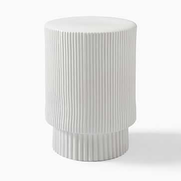Textured Collection Side Table, White - West Elm