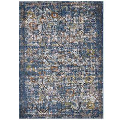 MINU DISTRESSED FLORAL LATTICE 8X10 AREA RUG IN BLUE GRAY, YELLOW AND ORANGE - Modway Furniture