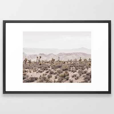 "Sierra Nevada Mojave // Desert Landscape Blush Cactus Mountain Range Las Vegas Photography Framed Art Print - 26"" x 38"", vector black frame - Society6"